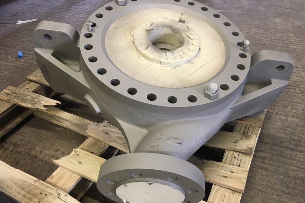 Close-up of masking on pump assembly after primer